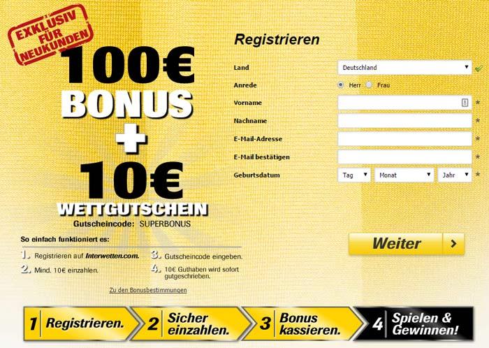 Interwetten Exklusive 110€ Bonus