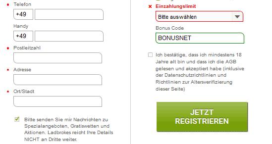 Ladbrokes Registrierung