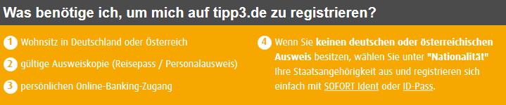 Tipp3 Registrierung