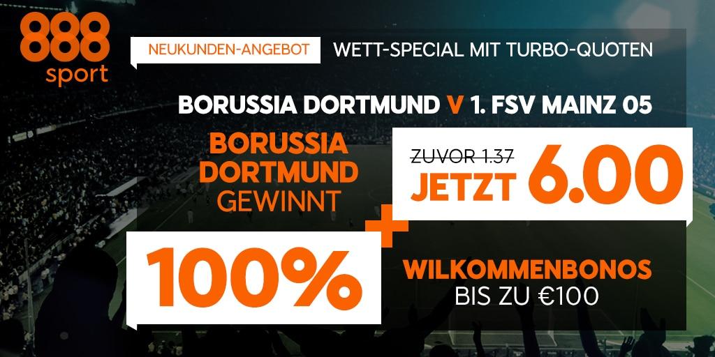 Neukunden wetten höher bei 888sport auf einen Sieg von Borussia Dortmund