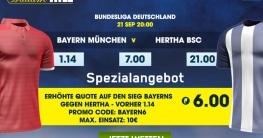 Top-Quote für Bayern gegen Hertha BSC für Neukunden bei William Hill
