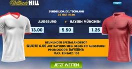 Quotenspecial für Neukunden bei William Hill für Bayern gegen Ausgburg