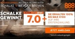 Schalke gegen Werder Bremen Wett-Special für Neukunden bei 888sport