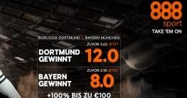 Top-Quoten für den Klassiker BVB vs. FCB für Neukunden bei 888sport
