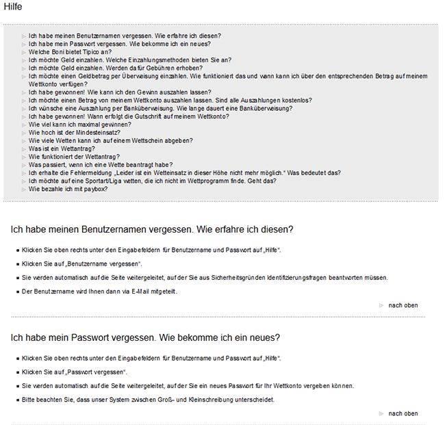 Tipico FAQ