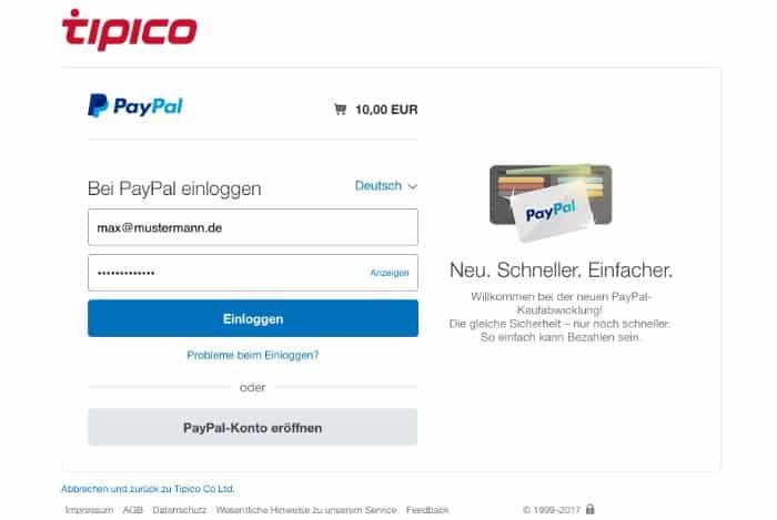 PayPalEinloggen