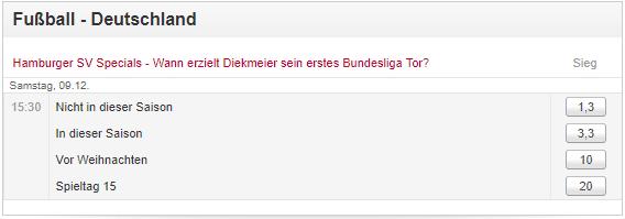 Wettfreunde können darauf wetten, wann Dennis Diekmeier vom HSV sein erstes Bundesligator erzielt
