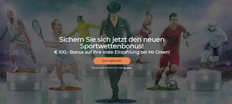 Mr Green Bonus für Neukunden