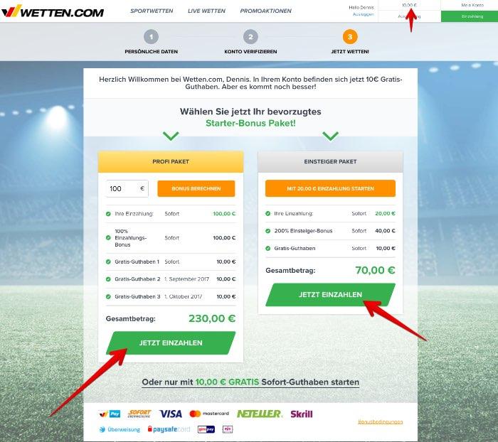 wetten.com Registrierung Startpaketwählen