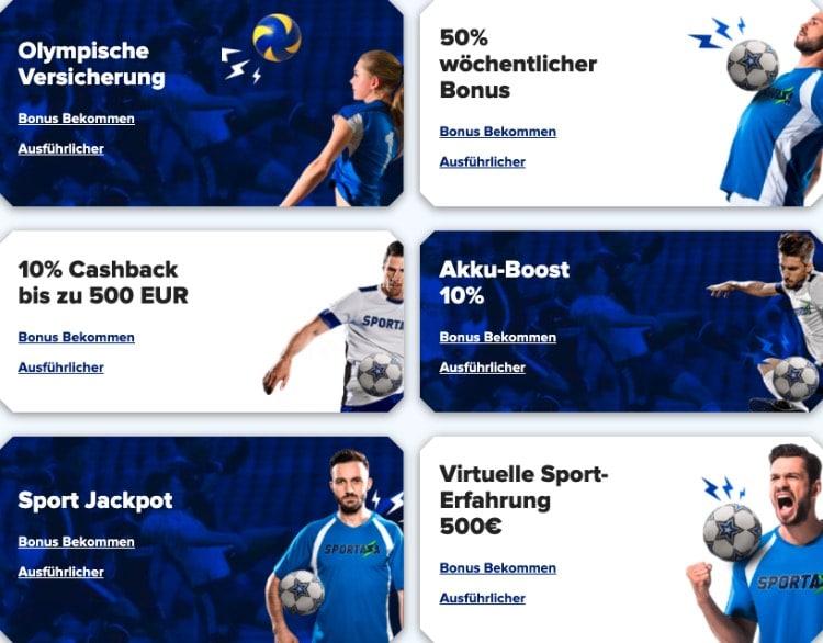 Übersicht Sportaza Promotionen
