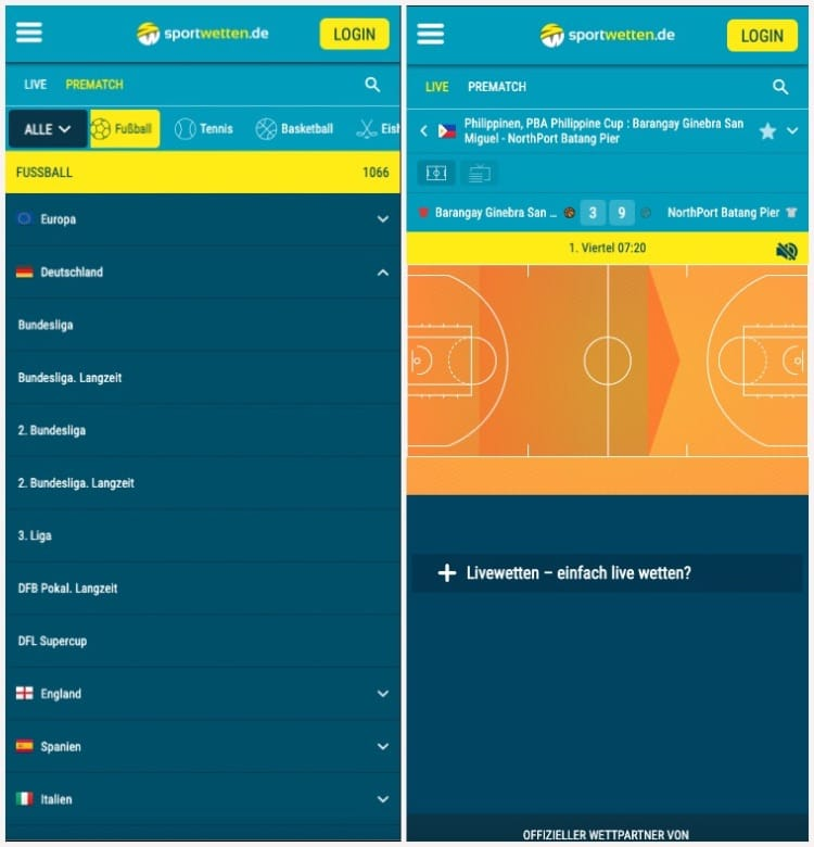 Sportwetten.de - Mobile Ansicht